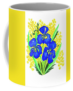 Blue Irises And Mimosa Coffee Mug