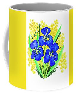 Blue Irises And Mimosa Coffee Mug