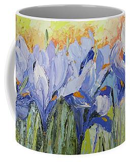 Blue Irises Palette Knife Painting Coffee Mug by Chris Hobel