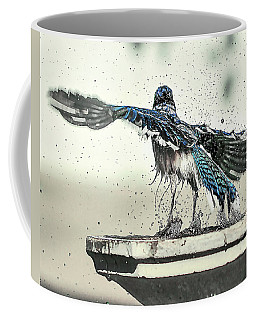 Coffee Mug featuring the photograph Blue Jay Bath Time by Scott Cordell