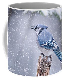 Blue Jay In Snow Storm Coffee Mug