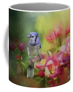 Blue Jay On A Blooming Tree Coffee Mug