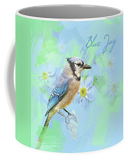 Blue Jay Watercolor Photo With Forget Me Nots Coffee Mug