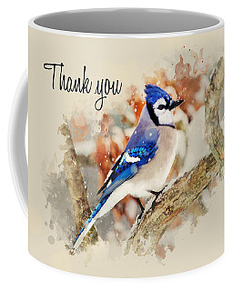 Blue Jay Watercolor Thank You Card Coffee Mug
