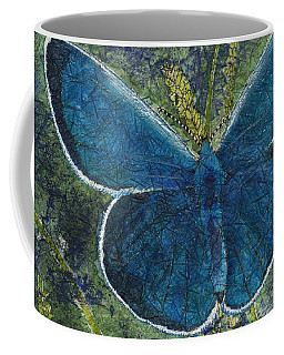 Blue Karner Butterfly Watercolor Batik Coffee Mug