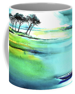 Coffee Mug featuring the painting Blue Lagoon by Anil Nene