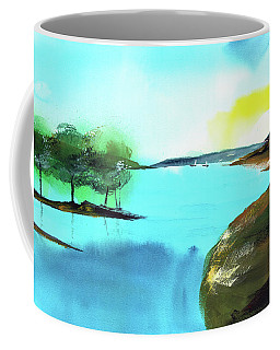 Coffee Mug featuring the painting Blue Lake by Anil Nene