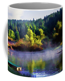 Blue Lake Spring Misty Geese  Coffee Mug