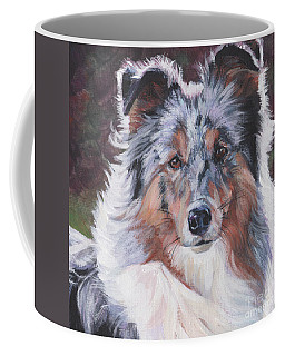 Coffee Mug featuring the painting Blue Merle Sheltie by Lee Ann Shepard