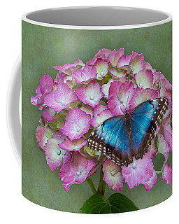 Blue Morpho Butterfly On Pink Hydrangea Coffee Mug