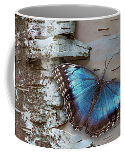 Blue Morpho Butterfly On White Birch Bark Coffee Mug
