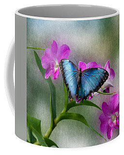 Blue Morpho With Orchids Coffee Mug