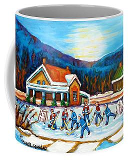 Blue Mountains At St Hippolyte Pond Hockey Painting Rural Quebec Landscape Cabin Scene C Spandau     Coffee Mug