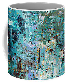 Coffee Mug featuring the painting Blue Ocean - Abstract Art by Carmen Guedez