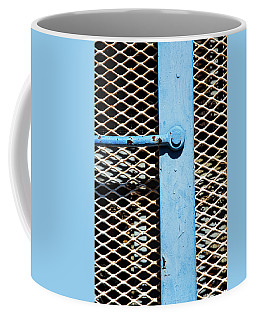 Coffee Mug featuring the photograph Blue On White by Karol Livote