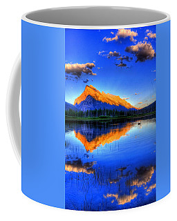 Blue Orange Mountain Coffee Mug by Test Testerton
