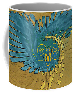Coffee Mug featuring the digital art Abstract Blue Owl by Ben and Raisa Gertsberg