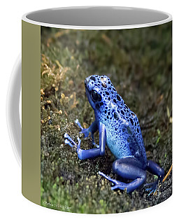 Coffee Mug featuring the pyrography Blue Poison Dart Frog by Barbara McMahon