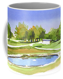 Coffee Mug featuring the painting Blue Pond At The A V Country Club by Kip DeVore