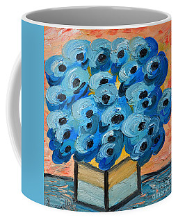 Blue Poppies In Square Vase  Coffee Mug by Ramona Matei