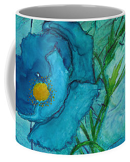Blue Poppies, Watercolor On Yupo Coffee Mug