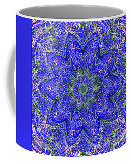 Blue Purple Lavender Floral Kaleidoscope Wall Art Print Coffee Mug by Carol F Austin