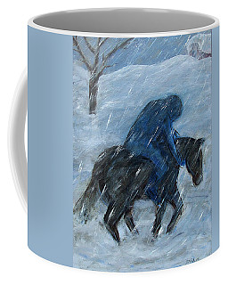 Blue Rider On Horse Coffee Mug