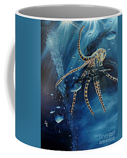 Coffee Mug featuring the painting Blue Ring Octopus by Dianna Lewis
