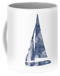 Blue Sail Boat- Art By Linda Woods Coffee Mug