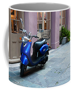 Coffee Mug featuring the photograph Blue Scooter by Monte Stevens