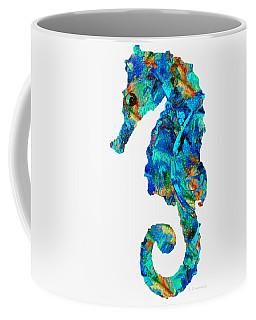 Blue Seahorse Art By Sharon Cummings Coffee Mug