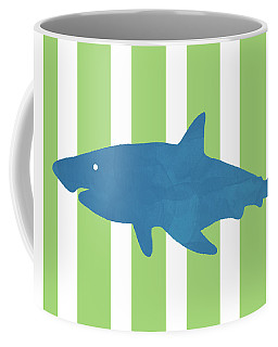 Blue Shark 1- Art By Linda Woods Coffee Mug