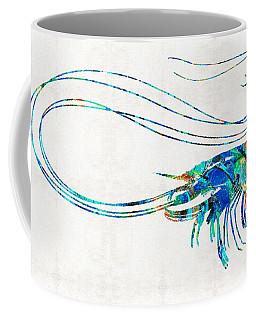 Blue Shrimp Art By Sharon Cummings Coffee Mug