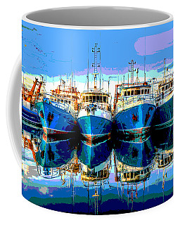 Blue Shrimp Boats Coffee Mug