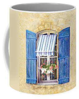 Coffee Mug featuring the painting Blue Shutters by Bonnie Rinier