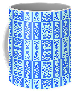 Blue Skull And Crossbones Pattern Coffee Mug