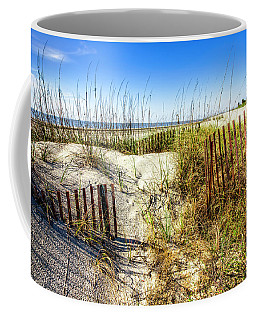 Coffee Mug featuring the photograph Blue Sky Dunes by Debra and Dave Vanderlaan