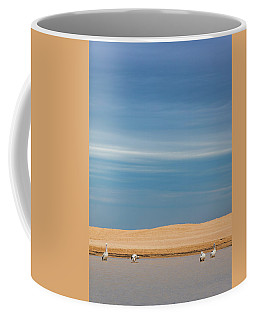 Coffee Mug featuring the photograph Blue Sky Pelicans by Chris Cousins