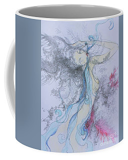 Coffee Mug featuring the drawing Blue Smoke And Mirrors by Marat Essex