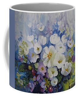 Coffee Mug featuring the painting Blue Spring by Elena Oleniuc