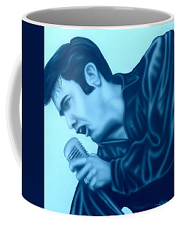 Coffee Mug featuring the painting Blue Suede Shoes by Darren Robinson