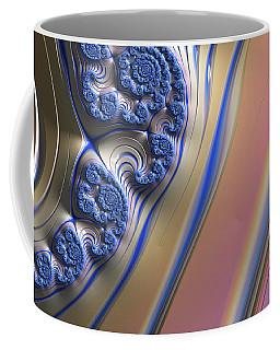 Coffee Mug featuring the digital art Blue Swirly Fractal 2 by Bonnie Bruno