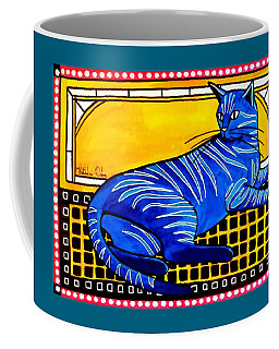 Blue Tabby - Cat Art By Dora Hathazi Mendes Coffee Mug