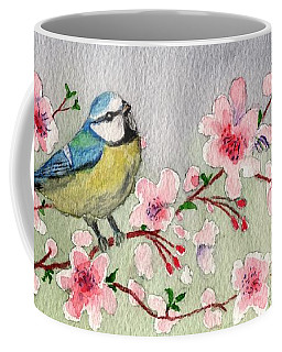Blue Tit Bird On Cherry Blossom Tree Coffee Mug