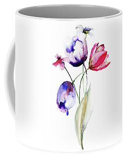 Blue Tulips Flowers With Wild Flowers Coffee Mug