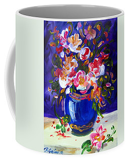 Blue Vase And Fresh Flowers Coffee Mug