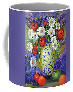 Blue Vase Flowers Coffee Mug