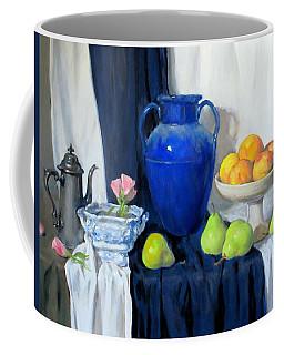 Blue Vase, Peaches, Pears, Lisianthus, Silver Coffeepot Coffee Mug