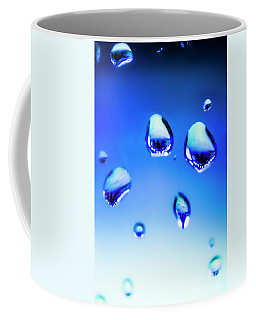 Blue Water Droplets On Glass Coffee Mug