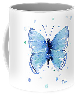 Blue Watercolor Butterfly Coffee Mug
